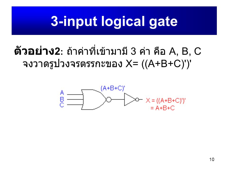10 ตัวอย่าง 2 : ถ้าค่าที่เข้ามามี 3 ค่า คือ A, B, C จงวาดรูปวงจรตรรกะของ X= ((A+B+C)')' 3-input logical gate