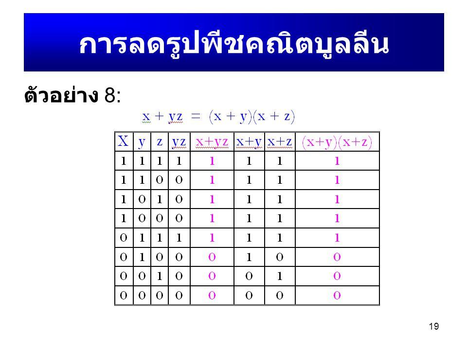 19 การลดรูปพีชคณิตบูลลีน ตัวอย่าง 8: