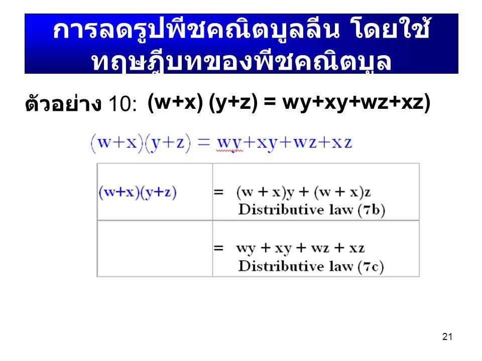 21 การลดรูปพีชคณิตบูลลีน โดยใช้ ทฤษฎีบทของพีชคณิตบูล (w+x) (y+z) = wy+xy+wz+xz) ตัวอย่าง 10: