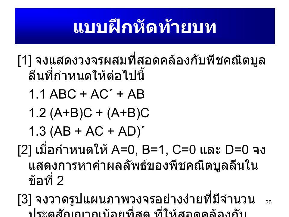 25 [1] จงแสดงวงจรผสมที่สอดคล้องกับพีชคณิตบูล ลีนที่กำหนดให้ต่อไปนี้ 1.1 ABC + AC΄ + AB 1.2 (A+B)C + (A+B)C 1.3 (AB + AC + AD)΄ [2] เมื่อกำหนดให้ A=0,
