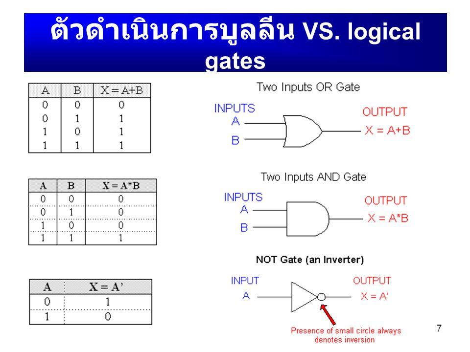 7 ตัวดำเนินการบูลลีน VS. logical gates