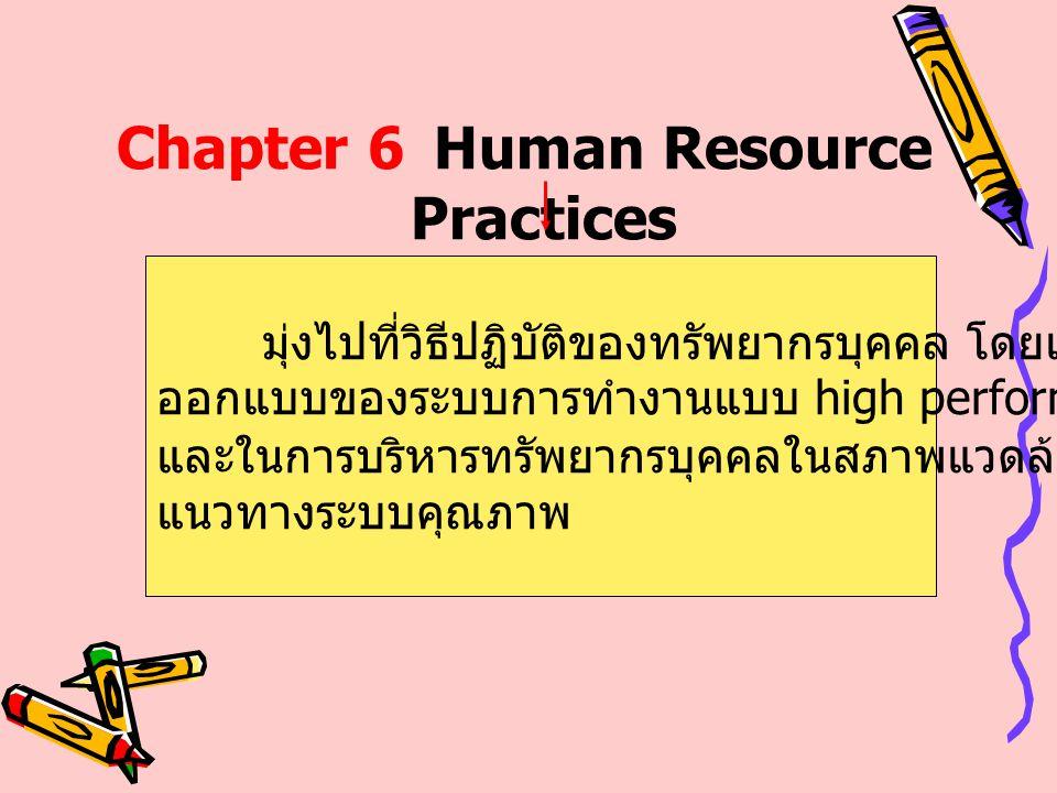 Chapter 6Human Resource Practices มุ่งไปที่วิธีปฏิบัติของทรัพยากรบุคคล โดยเฉพาะการ ออกแบบของระบบการทำงานแบบ high performance และในการบริหารทรัพยากรบุค