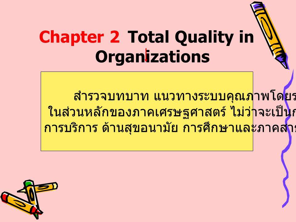 Chapter 2Total Quality in Organizations สำรวจบทบาท แนวทางระบบคุณภาพโดยรวม ในส่วนหลักของภาคเศรษฐศาสตร์ ไม่ว่าจะเป็นการผลิต การบริการ ด้านสุขอนามัย การศ