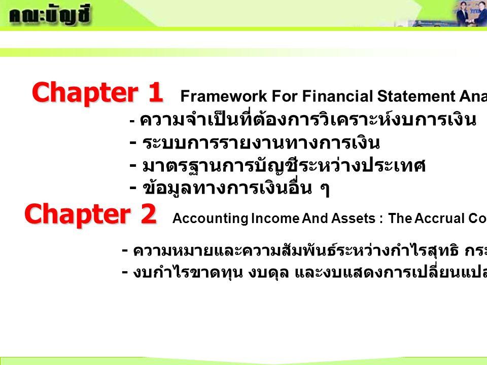 Chapter 1 Chapter 1 Framework For Financial Statement Analysis - ความจำเป็นที่ต้องการวิเคราะห์งบการเงิน - ระบบการรายงานทางการเงิน - มาตรฐานการบัญชีระห