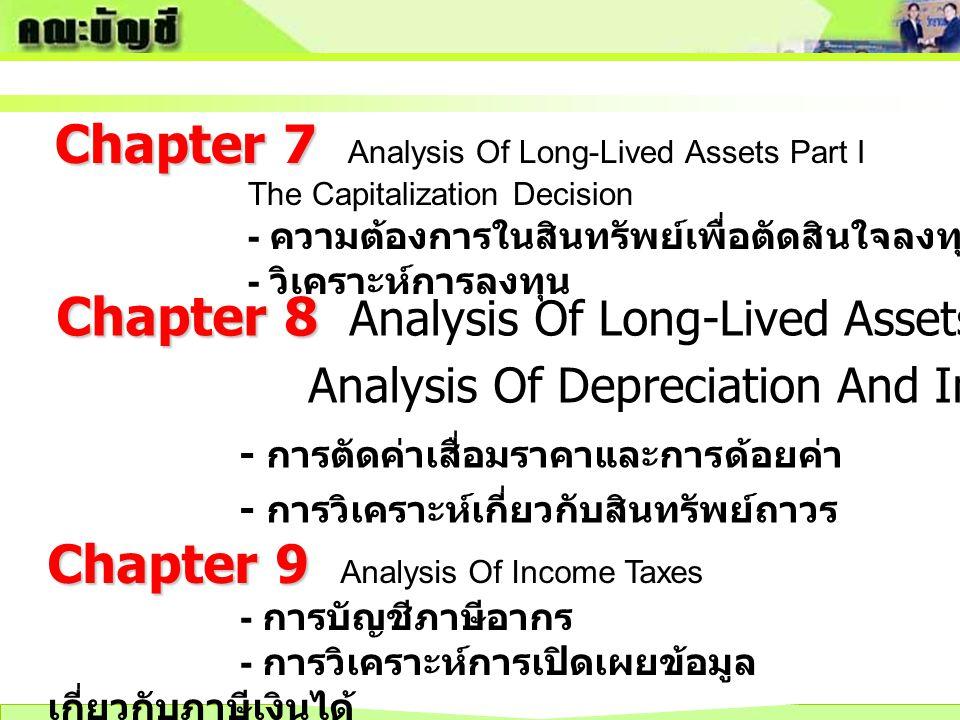 Chapter 7 Chapter 7 Analysis Of Long-Lived Assets Part I The Capitalization Decision - ความต้องการในสินทรัพย์เพื่อตัดสินใจลงทุน - วิเคราะห์การลงทุน Ch