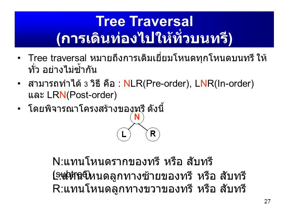 Tree traversal หมายถึงการเดิมเยี่ยมโหนดทุกโหนดบนทรี ให้ ทั่ว อย่างไม่ซ้ำกัน สามารถทำได้ 3 วิธี คือ : NLR(Pre-order), LNR(In-order) และ LRN(Post-order)