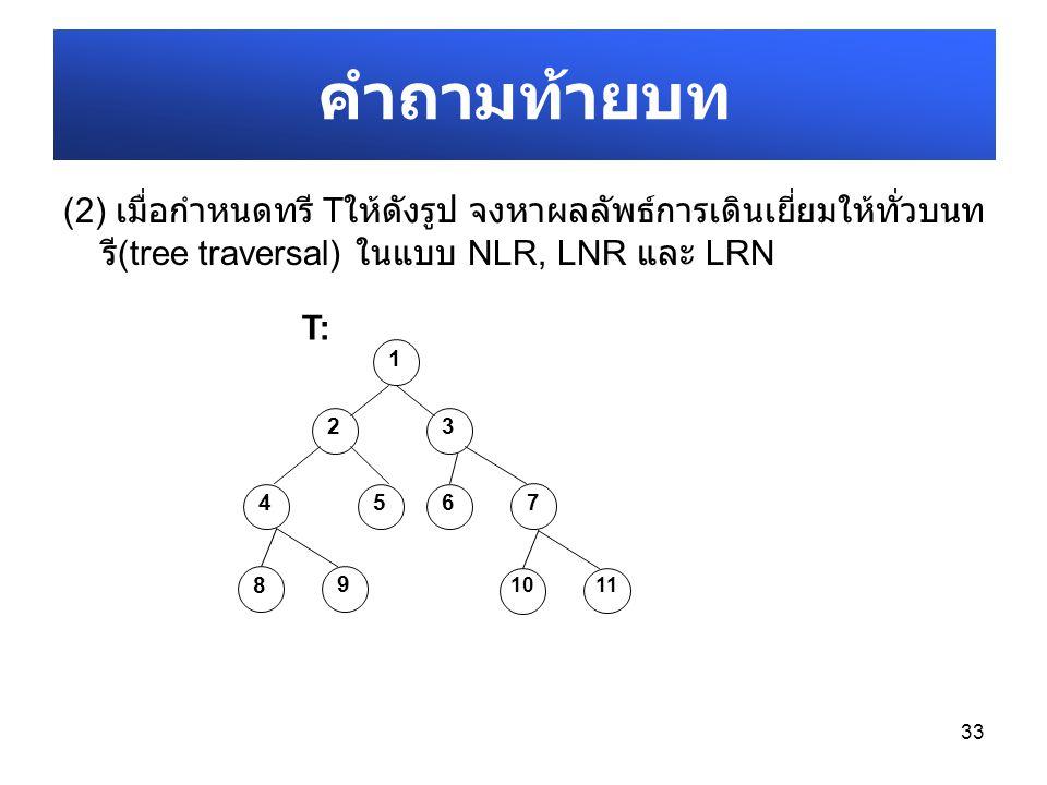 (2) เมื่อกำหนดทรี T ให้ดังรูป จงหาผลลัพธ์การเดินเยี่ยมให้ทั่วบนท รี (tree traversal) ในแบบ NLR, LNR และ LRN 33 คำถามท้ายบท 1 23 456 7 T:T: 8 9 10 11
