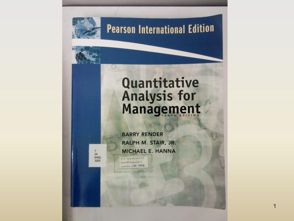 2 Quantitative Analysis for Management (Tenth Edition) BARRY RENDER RALPH M.