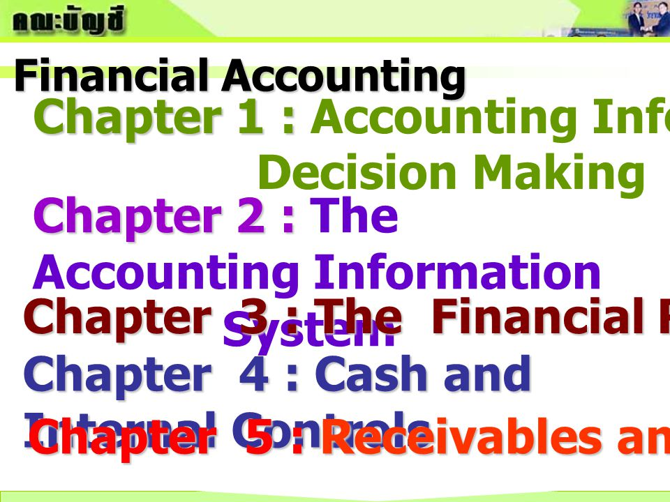 Chapter 6 : Inventory and Cost of Goods Sold Chapter 7 : Long – Term Assets Chapter 8 : Current Liabilities Chapter 9 : Long – term Liabilities Chapter 10 : Stockholders' Equity