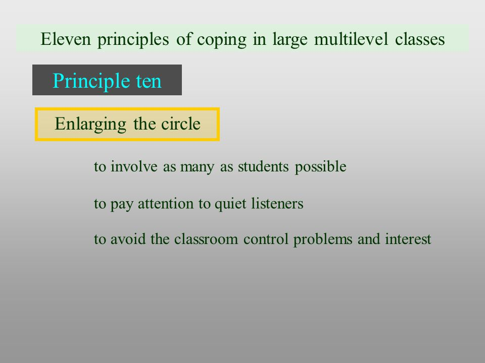 Eleven principles of coping in large multilevel classes Principle ten Enlarging the circle to involve as many as students possible to pay attention to quiet listeners to avoid the classroom control problems and interest
