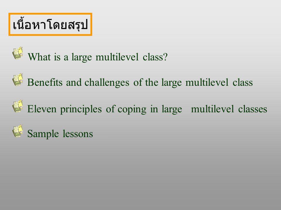 เนื้อหาโดยสรุป What is a large multilevel class.