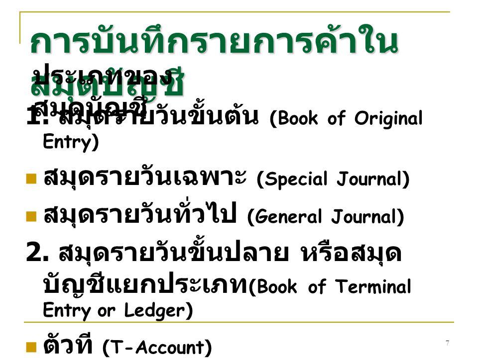 7 การบันทึกรายการค้าใน สมุดบัญชี 1. สมุดรายวันขั้นต้น (Book of Original Entry) สมุดรายวันเฉพาะ (Special Journal) สมุดรายวันทั่วไป (General Journal) 2.