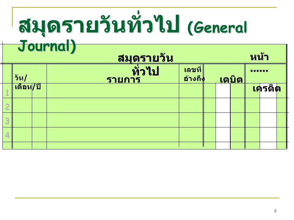 8 เลขที่ อ้างถึง สมุดรายวัน ทั่วไป วัน / เดือน / ปี รายการ เดบิต เครดิต หน้า...... 12341234 สมุดรายวันทั่วไป (General Journal)