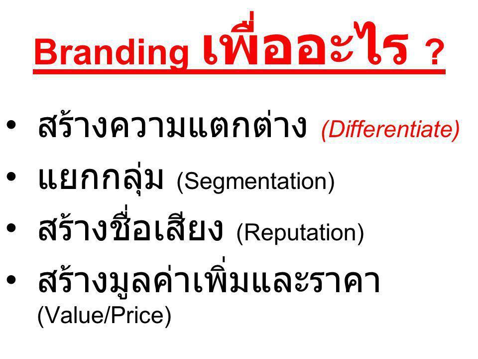 Branding เพื่ออะไร ? สร้างความแตกต่าง (Differentiate) แยกกลุ่ม (Segmentation) สร้างชื่อเสียง (Reputation) สร้างมูลค่าเพิ่มและราคา (Value/Price)