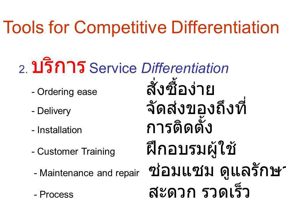 2. บริการ Service Differentiation - Customer Training ฝึกอบรมผู้ใช้ - Installation การติดตั้ง - Delivery จัดส่งของถึงที่ - Ordering ease สั่งซื้อง่าย