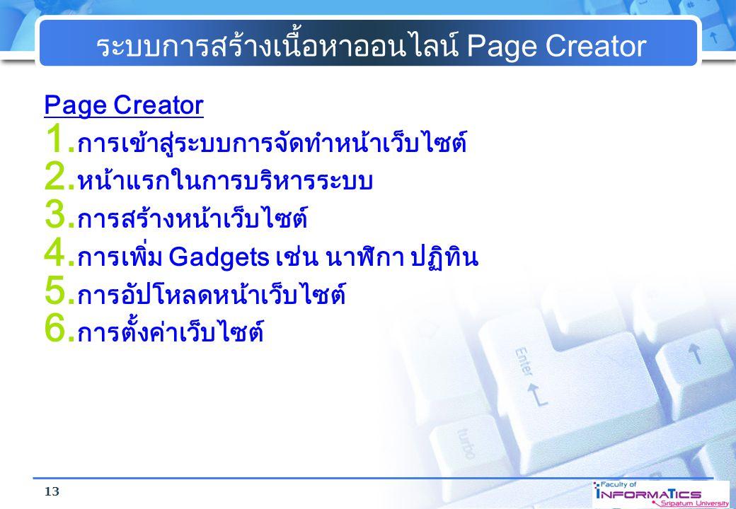 ระบบการสร้างเนื้อหาออนไลน์ Page Creator Page Creator 1. การเข้าสู่ระบบการจัดทำหน้าเว็บไซต์ 2. หน้าแรกในการบริหารระบบ 3. การสร้างหน้าเว็บไซต์ 4. การเพิ