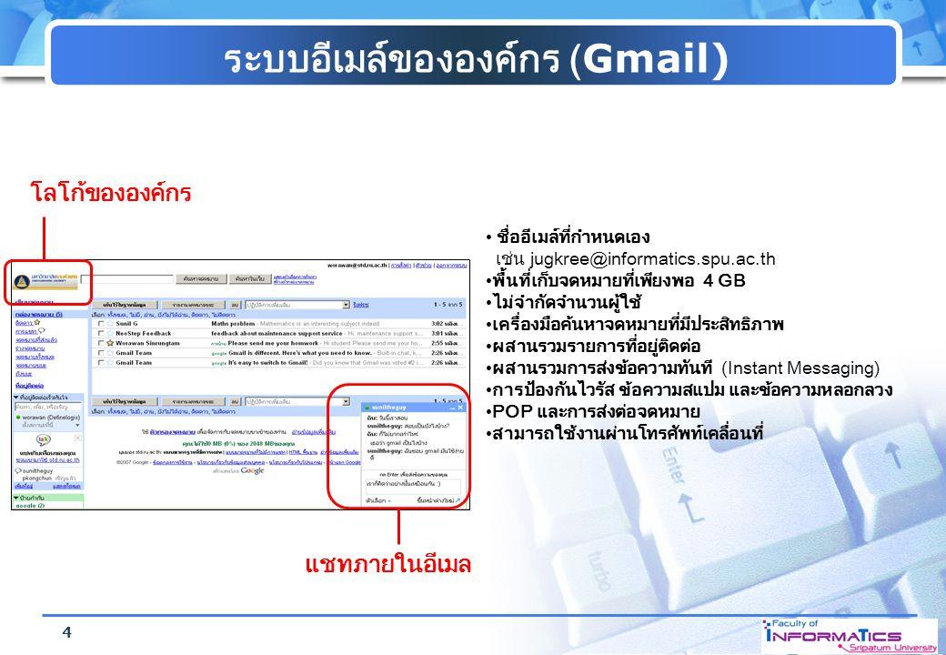 ระบบอีเมล์ขององค์กร (Gmail) โลโก้ขององค์กร แชทภายในอีเมล ชื่ออีเมล์ที่กำหนดเอง เช่น jugkree@informatics.spu.ac.th พื้นที่เก็บจดหมายที่เพียงพอ 4 GB ไม่