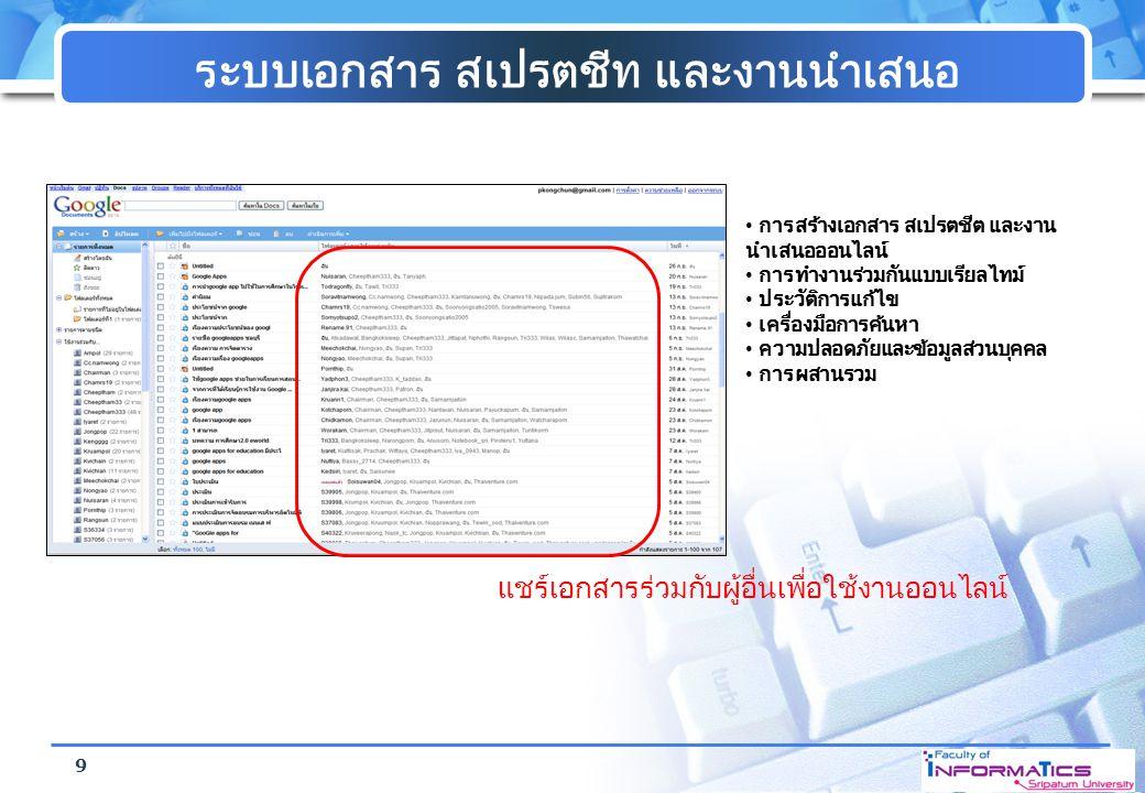 ระบบเอกสาร สเปรตชีท และงานนำเสนอ การสร้างเอกสาร สเปรตชีต และงาน นำเสนอออนไลน์ การทำงานร่วมกันแบบเรียลไทม์ ประวัติการแก้ไข เครื่องมือการค้นหา ความปลอดภ