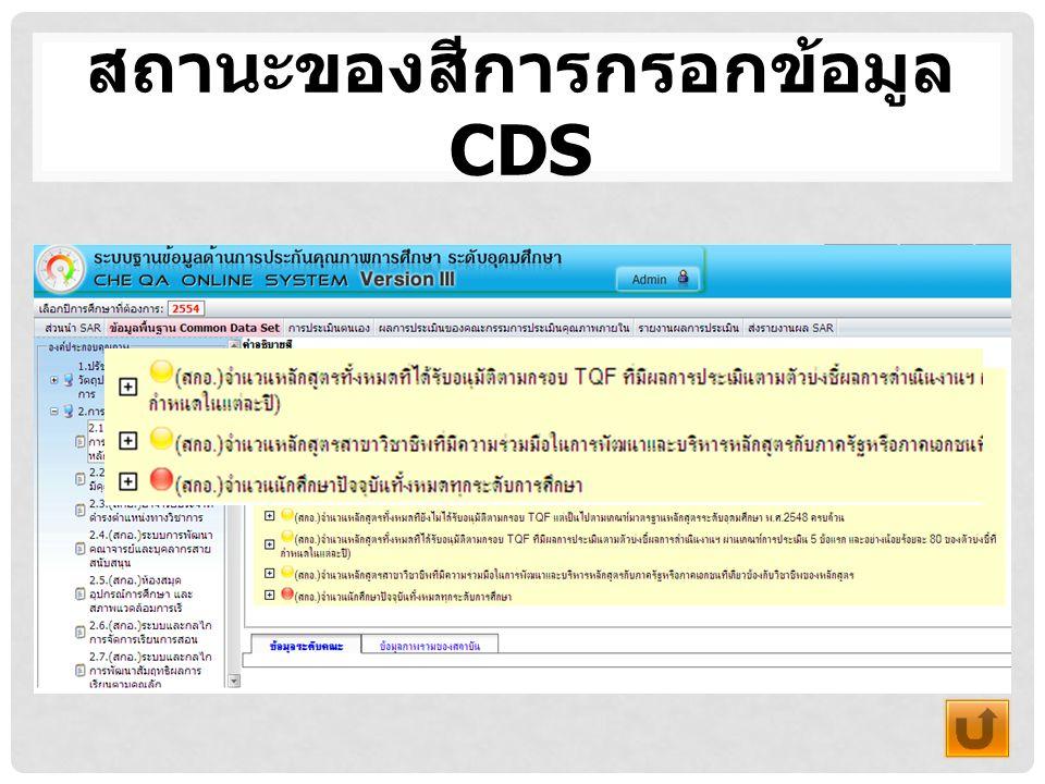 สถานะของสีการกรอกข้อมูล CDS