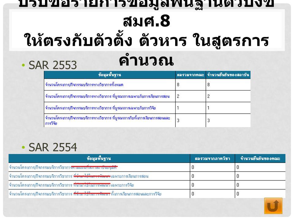 ปรับชื่อรายการข้อมูลพื้นฐานตัวบ่งชี้ สมศ.8 ให้ตรงกับตัวตั้ง ตัวหาร ในสูตรการ คำนวณ SAR 2553 SAR 2554