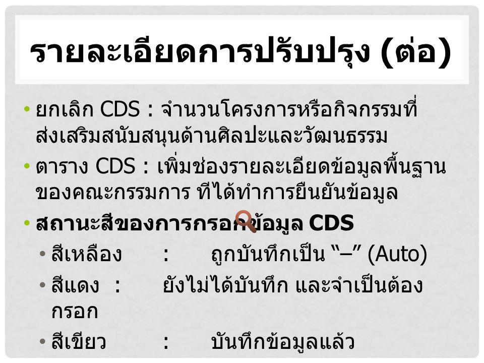 รายละเอียดการปรับปรุง ( ต่อ ) ยกเลิก CDS : จำนวนโครงการหรือกิจกรรมที่ ส่งเสริมสนับสนุนด้านศิลปะและวัฒนธรรม ตาราง CDS : เพิ่มช่องรายละเอียดข้อมูลพื้นฐาน ของคณะกรรมการ ทีได้ทำการยืนยันข้อมูล สถานะสีของการกรอกข้อมูล CDS สีเหลือง : ถูกบันทึกเป็น – (Auto) สีแดง : ยังไม่ได้บันทึก และจำเป็นต้อง กรอก สีเขียว : บันทึกข้อมูลแล้ว