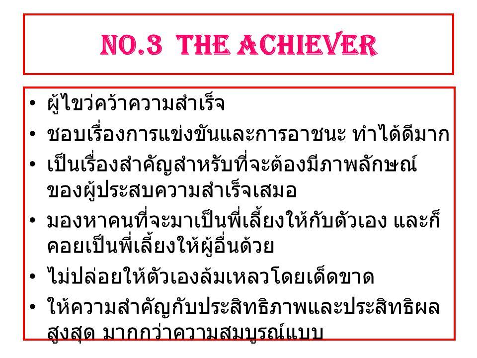 NO.3 The Achiever ผู้ไขว่คว้าความสำเร็จ ชอบเรื่องการแข่งขันและการอาชนะ ทำได้ดีมาก เป็นเรื่องสำคัญสำหรับที่จะต้องมีภาพลักษณ์ ของผู้ประสบความสำเร็จเสมอ มองหาคนที่จะมาเป็นพี่เลี้ยงให้กับตัวเอง และก็ คอยเป็นพี่เลี้ยงให้ผู้อื่นด้วย ไม่ปล่อยให้ตัวเองล้มเหลวโดยเด็ดขาด ให้ความสำคัญกับประสิทธิภาพและประสิทธิผล สูงสุด มากกว่าความสมบูรณ์แบบ