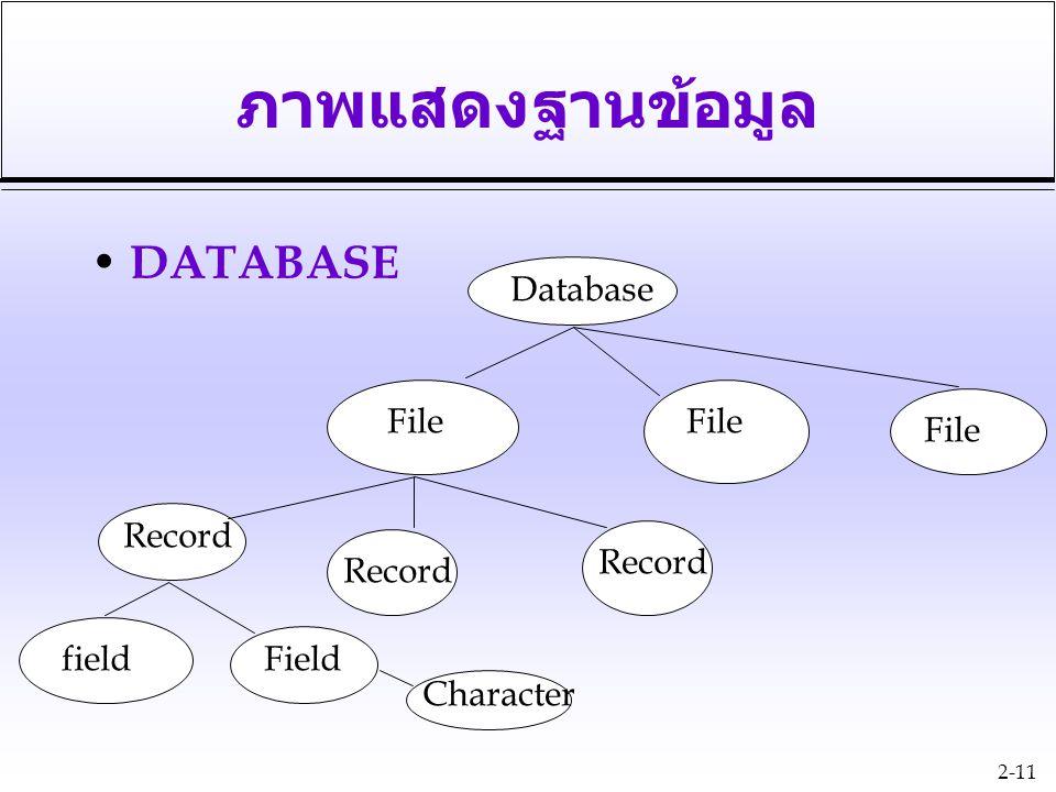 2-11 ภาพแสดงฐานข้อมูล DATABASE Database File Record fieldField Character
