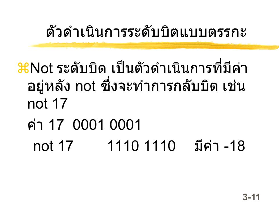 3-11 ตัวดำเนินการระดับบิตแบบตรรกะ  Not ระดับบิต เป็นตัวดำเนินการที่มีค่า อยู่หลัง not ซึ่งจะทำการกลับบิต เช่น not 17 ค่า 17 0001 0001 not 17 1110 111