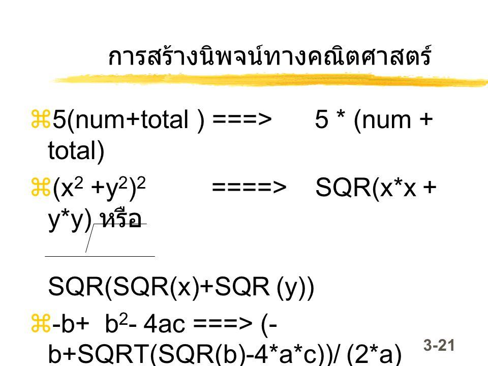 3-21 การสร้างนิพจน์ทางคณิตศาสตร์  5(num+total ) ===> 5 * (num + total)  (x 2 +y 2 ) 2 ====> SQR(x*x + y*y) หรือ SQR(SQR(x)+SQR (y))  -b+ b 2 - 4ac