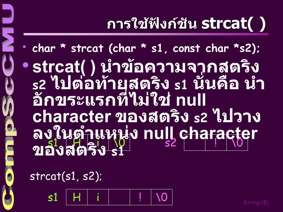 String (7) ตัวอย่างการใช้ฟังก์ชัน puts( ) 2 3 4 5 6 7 8 9 0 1 s puts(s); l l o \0 O O O H e puts(s+3); \0 HelloOOO _ loOOO _ Hi .