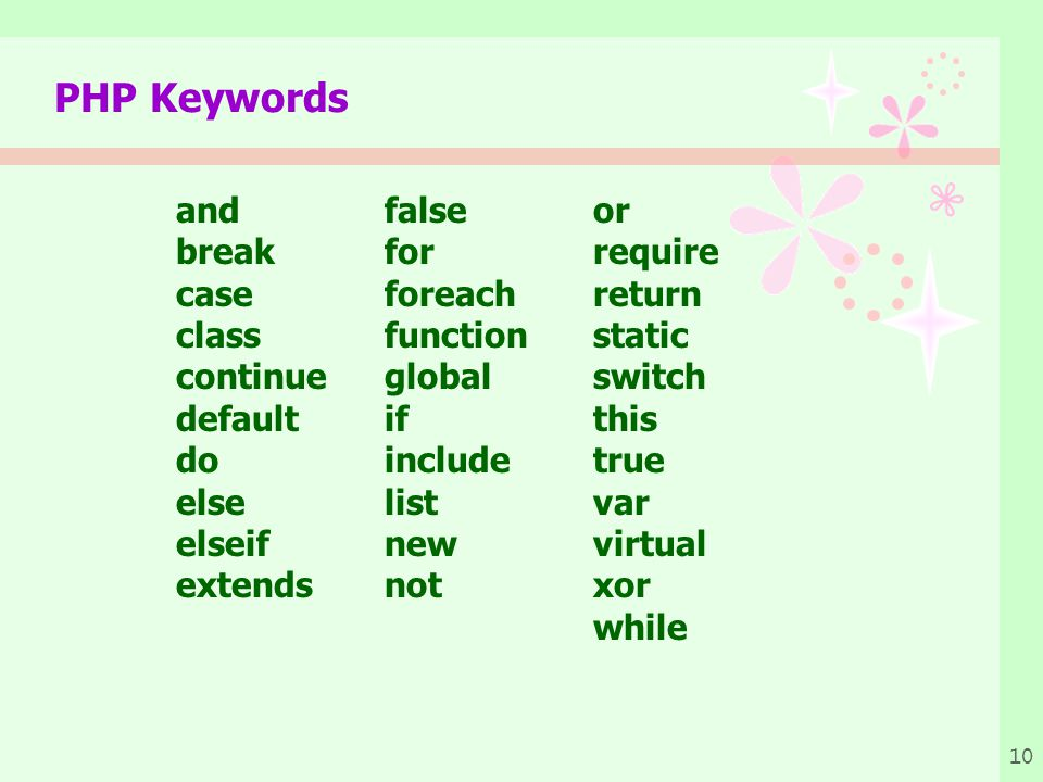 10 PHP Keywords and false or break for require case foreach return class function static continue global switch default if this do includetrue else list var elseif new virtual extends not xor while