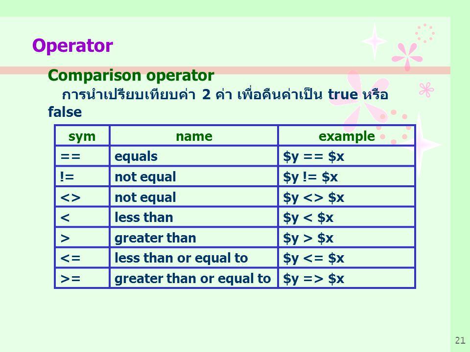 21 Operator Comparison operator การนำเปรียบเทียบค่า 2 ค่า เพื่อคืนค่าเป็น true หรือ false symnameexample ==equals$y == $x !=not equal$y != $x <>not equal$y <> $x <less than$y < $x >greater than$y > $x <=less than or equal to$y <= $x >=greater than or equal to$y => $x