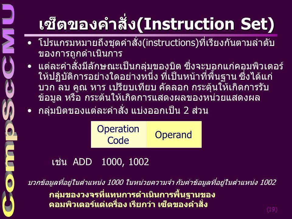 (19) เซ็ตของคำสั่ง(Instruction Set) โปรแกรมหมายถึงชุดคำสั่ง(instructions)ที่เรียงกันตามลำดับ ของการถูกดำเนินการ แต่ละคำสั่งมีลักษณะเป็นกลุ่มของบิต ซึ่งจะบอกแก่คอมพิวเตอร์ ให้ปฏิบัติการอย่างใดอย่างหนึ่ง ที่เป็นหน้าที่พื้นฐาน ซึ่งได้แก่ บวก ลบ คูณ หาร เปรียบเทียบ คัดลอก กระตุ้นให้เกิดการรับ ข้อมูล หรือ กระต้นให้เกิดการแสดงผลของหน่วยแสดงผล กลุ่มบิตของแต่ละคำสั่ง แบ่งออกเป็น 2 ส่วน เช่น ADD 1000, 1002 บวกข้อมูลที่อยู่ในตำแหน่ง 1000 ในหน่วยความจำ กับค่าข้อมูลที่อยู่ในตำแหน่ง 1002 Operation Code Operand กลุ่มของวงจรที่แทนการดำเนินการพื้นฐานของ คอมพิวเตอร์แต่เครื่อง เรียกว่า เซ็ตของคำสั่ง
