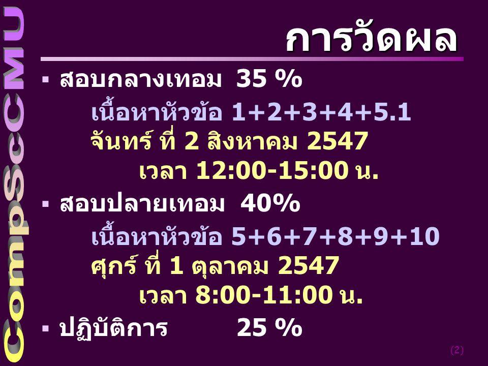(2) การวัดผล  สอบกลางเทอม 35 % เนื้อหาหัวข้อ 1+2+3+4+5.1 จันทร์ ที่ 2 สิงหาคม 2547 เวลา 12:00-15:00 น.  สอบปลายเทอม 40% เนื้อหาหัวข้อ 5+6+7+8+9+10 ศ