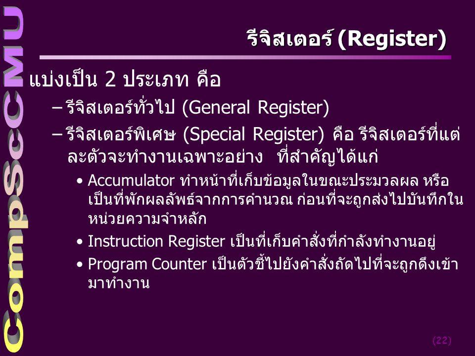 (22) รีจิสเตอร์ (Register) แบ่งเป็น 2 ประเภท คือ –รีจิสเตอร์ทั่วไป (General Register) –รีจิสเตอร์พิเศษ (Special Register) คือ รีจิสเตอร์ที่แต่ ละตัวจะทำงานเฉพาะอย่าง ที่สำคัญได้แก่ Accumulator ทำหน้าที่เก็บข้อมูลในขณะประมวลผล หรือ เป็นที่พักผลลัพธ์จากการคำนวณ ก่อนที่จะถูกส่งไปบันทึกใน หน่วยความจำหลัก Instruction Register เป็นที่เก็บคำสั่งที่กำลังทำงานอยู่ Program Counter เป็นตัวชี้ไปยังคำสั่งถัดไปที่จะถูกดึงเข้า มาทำงาน
