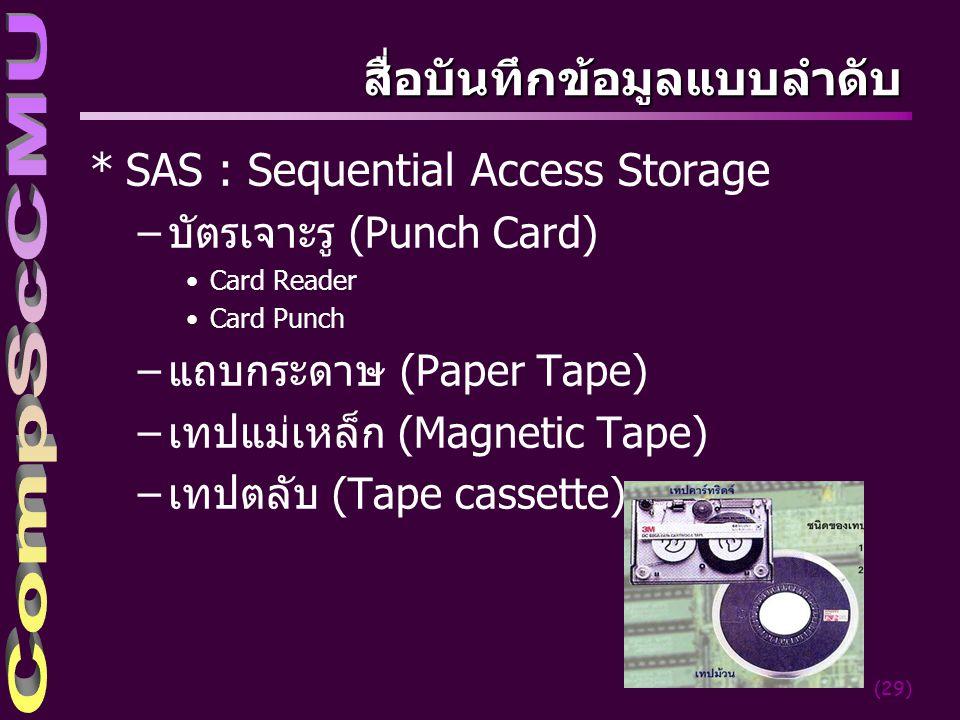 (29) สื่อบันทึกข้อมูลแบบลำดับ *SAS : Sequential Access Storage –บัตรเจาะรู (Punch Card) Card Reader Card Punch –แถบกระดาษ (Paper Tape) –เทปแม่เหล็ก (Magnetic Tape) –เทปตลับ (Tape cassette)