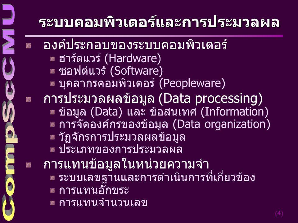 (4) ระบบคอมพิวเตอร์และการประมวลผล องค์ประกอบของระบบคอมพิวเตอร์ ฮาร์ดแวร์ (Hardware) ซอฟต์แวร์ (Software) บุคลากรคอมพิวเตอร์ (Peopleware) การประมวลผลข้อมูล (Data processing) ข้อมูล (Data) และ ข้อสนเทศ (Information) การจัดองค์กรของข้อมูล (Data organization) วัฏจักรการประมวลผลข้อมูล ประเภทของการประมวลผล การแทนข้อมูลในหน่วยความจำ ระบบเลขฐานและการดำเนินการที่เกี่ยวข้อง การแทนอักขระ การแทนจำนวนเลข