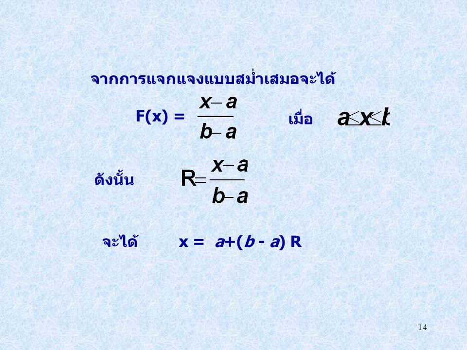 14 จากการแจกแจงแบบสม่ำเสมอจะได้ F(x) = เมื่อ ดังนั้น จะได้ x = a+(b - a) R