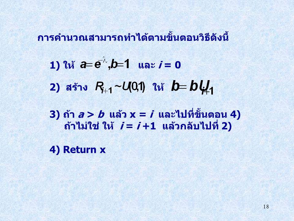 18 การคำนวณสามารถทำได้ตามขั้นตอนวิธีดังนี้ 1) ให้ และ i = 0 ให้ 3) ถ้า a > b แล้ว x = i และไปที่ขั้นตอน 4) ถ้าไม่ใช่ ให้ i = i +1 แล้วกลับไปที่ 2) 4)