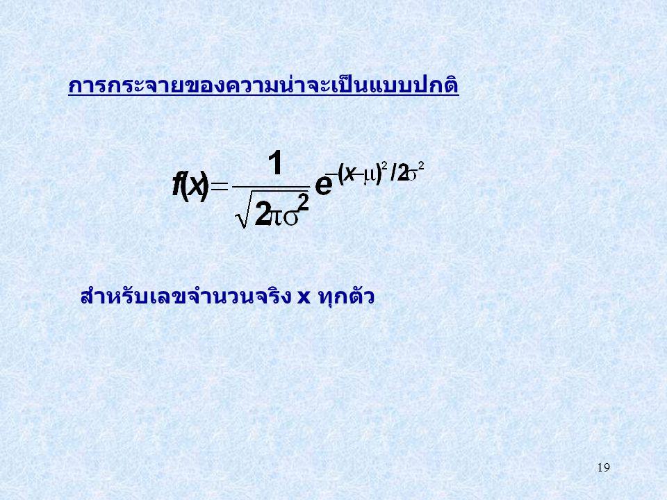 19 การกระจายของความน่าจะเป็นแบบปกติ สำหรับเลขจำนวนจริง x ทุกตัว