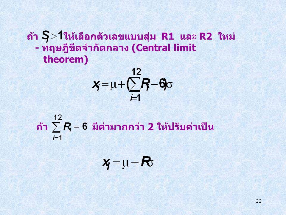 22 ถ้า ให้เลือกตัวเลขแบบสุ่ม R1 และ R2 ใหม่ - ทฤษฎีขีดจำกัดกลาง (Central limit theorem) ถ้า มีค่ามากกว่า 2 ให้ปรับค่าเป็น