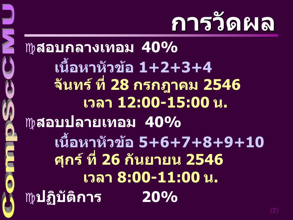 (2) การวัดผล c สอบกลางเทอม 40% เนื้อหาหัวข้อ 1+2+3+4 จันทร์ ที่ 28 กรกฎาคม 2546 เวลา 12:00-15:00 น.