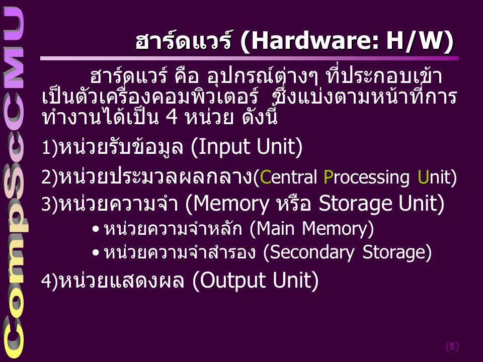 (8) ฮาร์ดแวร์ (Hardware: H/W) ฮาร์ดแวร์ คือ อุปกรณ์ต่างๆ ที่ี่ประกอบเข้า เป็นตัวเครื่องคอมพิวเตอร์ ซึ่งแบ่งตามหน้าที่การ ทำงานได้เป็น 4 หน่วย ดังนี้ 1) หน่วยรับข้อมูล (Input Unit) 2) หน่วยประมวลผลกลาง (Central Processing Unit) 3) หน่วยความจำ (Memory หรือ Storage Unit) หน่วยความจำหลัก (Main Memory) หน่วยความจำสำรอง (Secondary Storage) 4) หน่วยแสดงผล (Output Unit)
