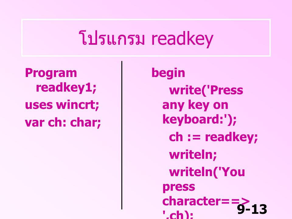9-13 โปรแกรม readkey Program readkey1; uses wincrt; var ch: char; begin write('Press any key on keyboard:'); ch := readkey; writeln; writeln('You pres
