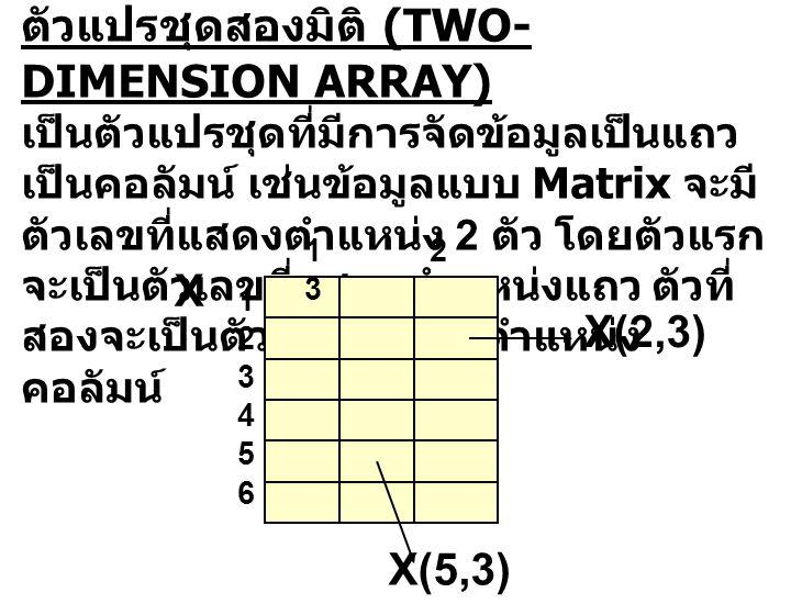 ตัวแปรชุดสองมิติ (TWO- DIMENSION ARRAY) เป็นตัวแปรชุดที่มีการจัดข้อมูลเป็นแถว เป็นคอลัมน์ เช่นข้อมูลแบบ Matrix จะมี ตัวเลขที่แสดงตำแหน่ง 2 ตัว โดยตัวแ