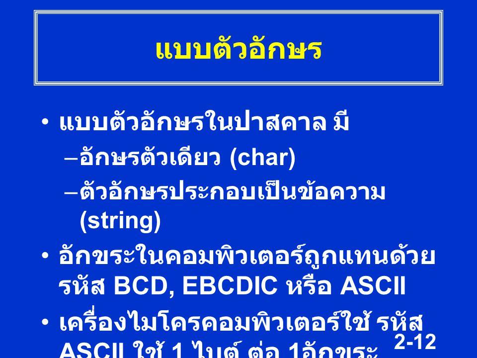2-12 แบบตัวอักษร แบบตัวอักษรในปาสคาล มี – อักษรตัวเดียว (char) – ตัวอักษรประกอบเป็นข้อความ (string) อักขระในคอมพิวเตอร์ถูกแทนด้วย รหัส BCD, EBCDIC หรื