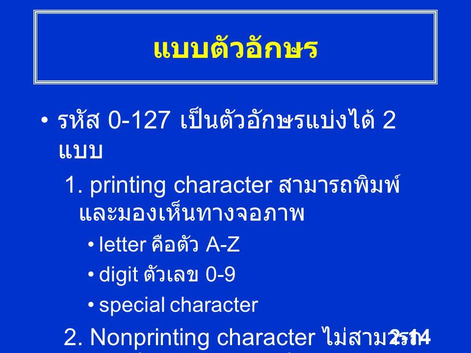 2-14 แบบตัวอักษร รหัส 0-127 เป็นตัวอักษรแบ่งได้ 2 แบบ 1. printing character สามารถพิมพ์ และมองเห็นทางจอภาพ letter คือตัว A-Z digit ตัวเลข 0-9 special