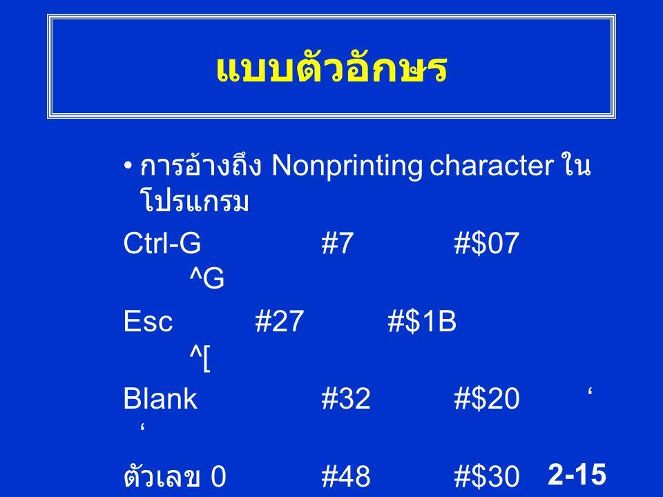 2-15 แบบตัวอักษร การอ้างถึง Nonprinting character ใน โปรแกรม Ctrl-G #7#$07 ^G Esc#27#$1B ^[ Blank#32#$20' ' ตัวเลข 0#48#$30 '0' ตัวอักษร B #66#$42 'B'