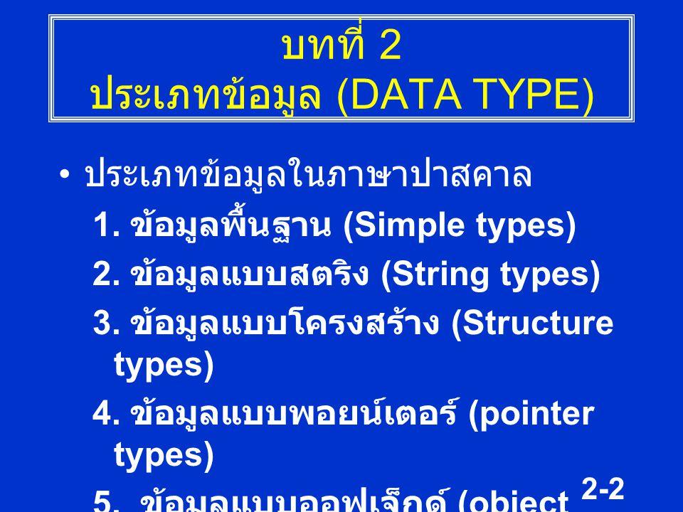 2-2 บทที่ 2 ประเภทข้อมูล (DATA TYPE) ประเภทข้อมูลในภาษาปาสคาล 1. ข้อมูลพื้นฐาน (Simple types) 2. ข้อมูลแบบสตริง (String types) 3. ข้อมูลแบบโครงสร้าง (
