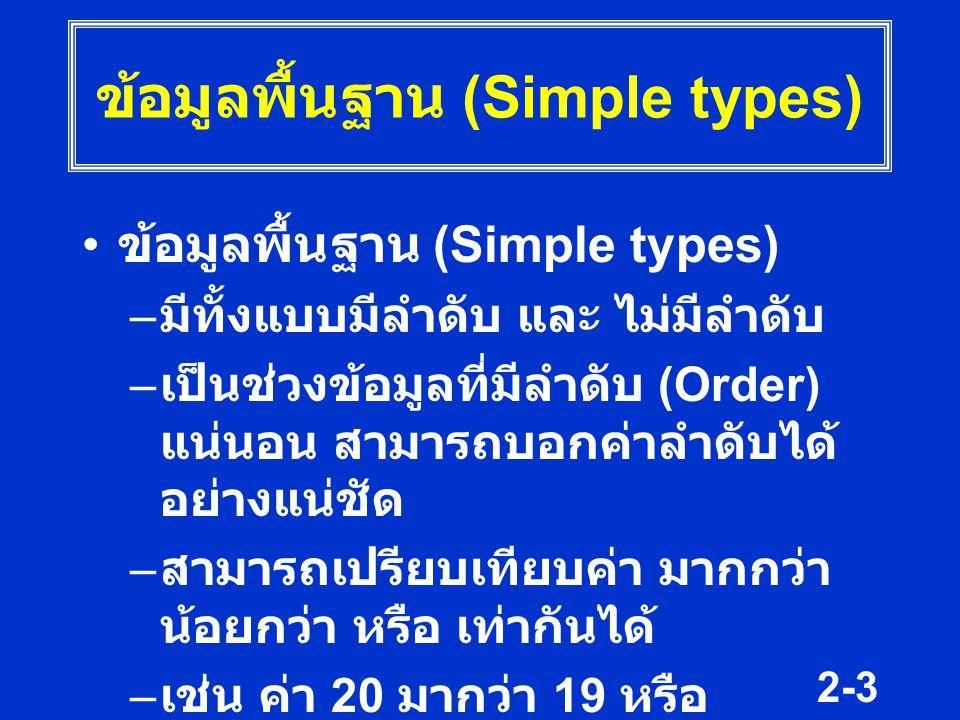 2-4 ข้อมูลพื้นฐาน (Simple types) ฟังก์ชัน ที่ใช้กับข้อมูลแบบลำดับ –ord( ) ย่อมาจาก Order ใช้หาลำดับ ที่ของค่านั้น –pred( ) ย่อมาจาก predecessor ใช้ หาลำดับก่อนค่าที่ระบุ –succ( ) ย่อมาจาก successor ใช้หา ลำดับหลังค่าที่ระบุ ฟังก์ชันเหล่านี้เป็น Predefined function สิ่งที่อยู่ในวงเล็บอาจเป็น ตัวเลข ตัวแปร หรือ นิพจน์